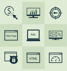 Seo icons set with html code pay per click vector