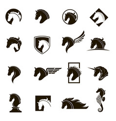 set horse icons vector image