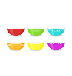 Set of colourful empty bowls vector
