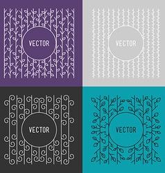Set of Line Art Floral Decoration Frames Design vector image