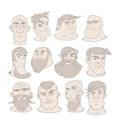 Set of serious man faces with different vector