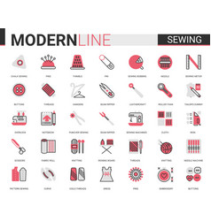 sewing tailoring thin red black flat line icon vector image