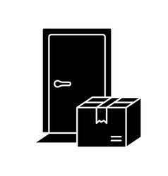 Silhouette contactless delivery outline icon of vector