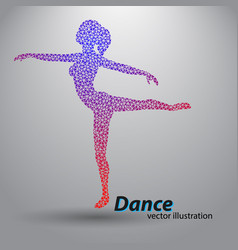 silhouette of a dancing girl from triangles vector image