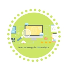 Smart Technology for SEO Analytics Icon Flat vector image