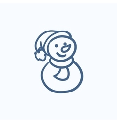 Snowman sketch icon vector image