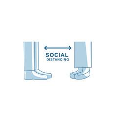 Social distancing 2 meter and 6 feet vector