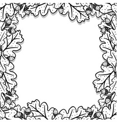 Square decorative frame with oak leaves and acorns vector
