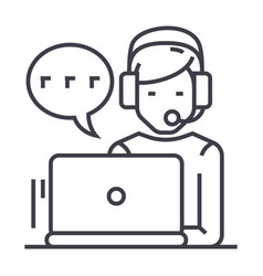 supportcustomer serviceman with computer and vector image