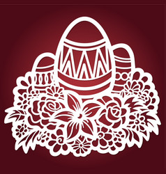 template for laser cutting easter eggs vector image