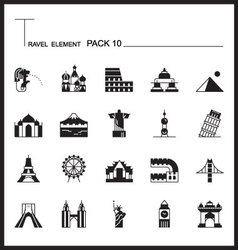 Travel Element Line Icon Set 10Landmark thin icons vector