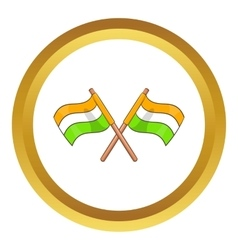 Two crossed flags of India icon vector
