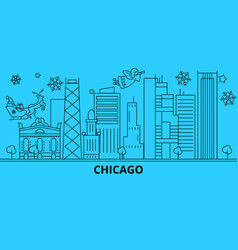 united states chicago city winter holidays vector image