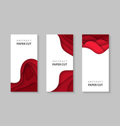 vertical flyers with red color paper cut waves vector image