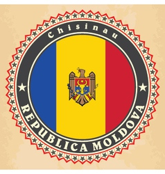 Vintage label cards of moldova flag vector