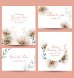Watercolor flowers blossom card set vector