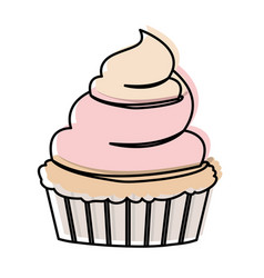Watercolor silhouette of hand drawing cupcake with vector