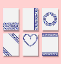 Wedding patterned invitation set thank you vector
