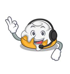 With headphone cinnamon roll mascot cartoon vector