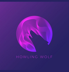 wolf silhouette howling on moon abstract vector image