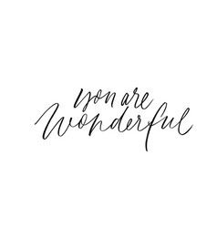 You are wonderful ink pen lettering vector