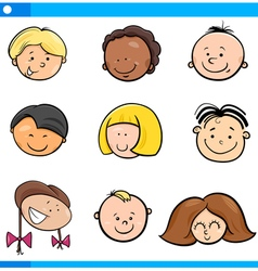 cartoon boys and girls set vector image vector image
