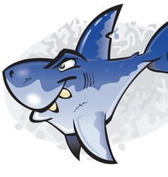 cartoon great white shark vector image vector image