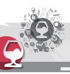 Hand drawn drink icons with food icons background vector image vector image