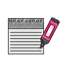 notebook sheet with highlighter pen vector image vector image