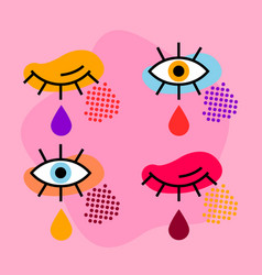 pop art eyes vector image