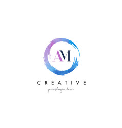 am letter logo circular purple splash brush vector image