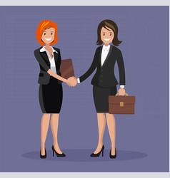 business handshake flat style vector image vector image