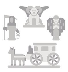 Flat design cemetery statue set vector image