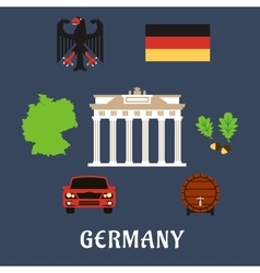 Germany national and travel flat icons vector image vector image