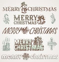 Hand drawn Christmas greetings and signs vector image