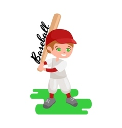 Happy boy playing baseball kids sport childrens vector image