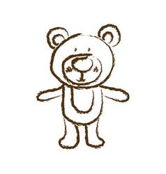 Monochrome hand drawn silhouette of bear vector