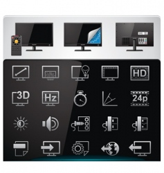 TV features icon set vector image vector image