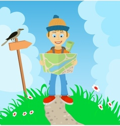 Young boy tourist with a backpack check the route vector image