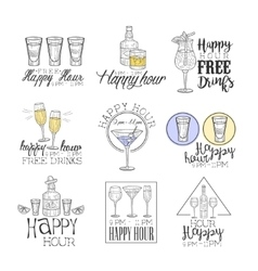 Cocktail bar happy hour promotion sign design vector