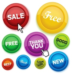 cool glossy buttons for your business website vector image vector image