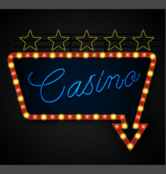 neon banner on text casino background vector image