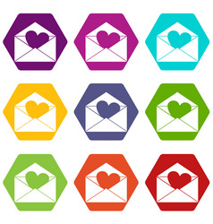 envelope with valentine heart icon set color vector image vector image