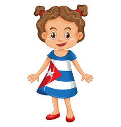 Girl wearing clothes with cuba flag vector