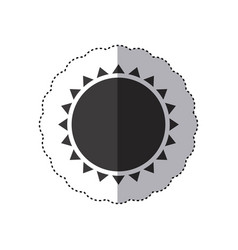 gray silhouette sticker with abstract sun close up vector image vector image