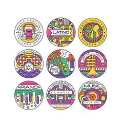 music festival logo set latino jazz piano rock vector image vector image