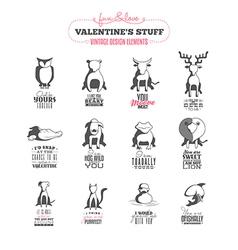 Set of vintage valentines day design elements vector