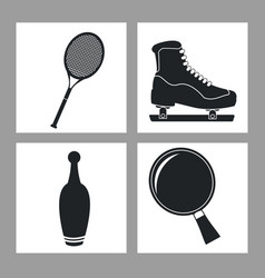 set sport equipment icon black and white vector image vector image