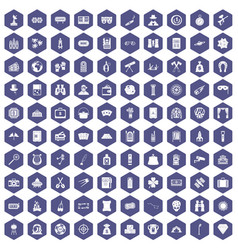 100 adult games icons hexagon purple vector