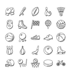 100 sports icon set vector image